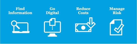 Find information. Go digital. Reduce costs. Manage risk.
