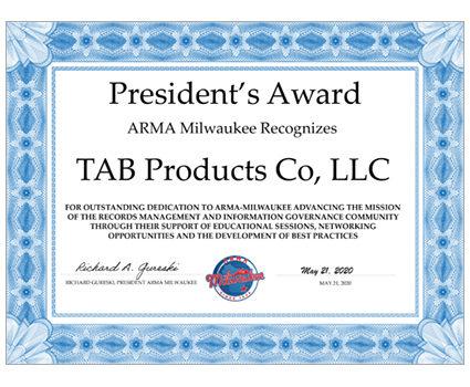 TAB accepts ARMA Milwaukee President's Award